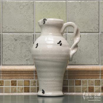 洛克安娜 欧式法式乡村复古做旧陶瓷干花瓶单耳花器装饰品摆件 LA004029W