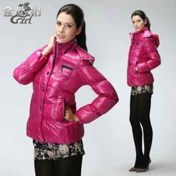 金紫荆冬装女装时尚羽绒服2013新款保暖外套加厚纯色修身短款气质