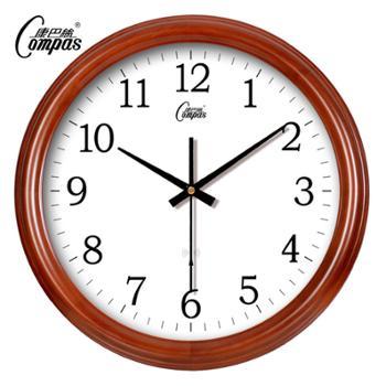 康巴丝中式挂钟现代创意钟表时尚简约时钟欧式客厅挂钟实木壁钟静音电波钟
