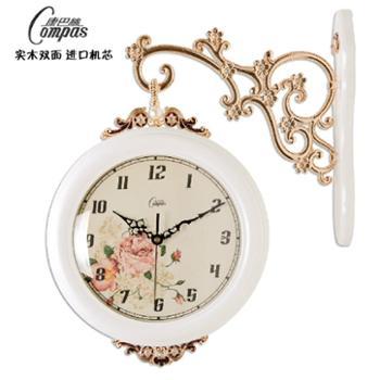 康巴丝欧式双面挂钟创意时尚大号客厅时钟两面挂钟田园简约石英钟表