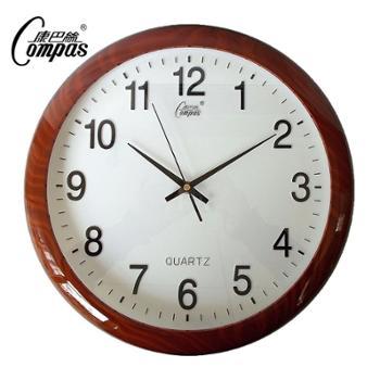 康巴丝仿木纹环保塑胶外壳挂钟欧式时钟个性静音办公钟表石英钟