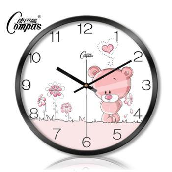 康巴丝钟表欧式时尚创意可爱小熊卡通卧室石英钟静音客厅挂钟包邮
