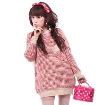 泽优诚品 韩版宽松女长款毛衣打底加厚毛衣针织 W5115