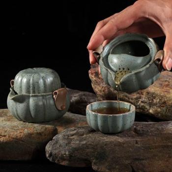 陶立方快客杯办公杯盖碗个人专用杯一壶一杯旅行茶具陶瓷朱砂手抓壶TF-5079