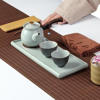 陶立方汝窑开片整套茶具一壶两杯便携旅行茶具套装带茶盘功夫茶具金刚沙釉茶杯茶壶品茗杯
