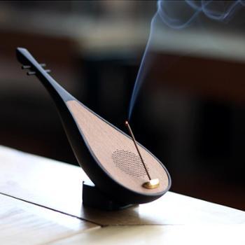 陶立方 木质琵琶香道香器香炉香座香托 檀木音箱蓝牙音响禅音播放器TF-5941实木礼盒装