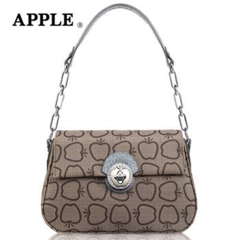 Apple苹果简约时尚女包PVC印花女士手提单肩包小包锁头化妆包