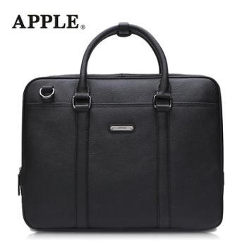 APPLE苹果手提包男真皮商务斜挎包韩版横款头层牛皮男包大容量