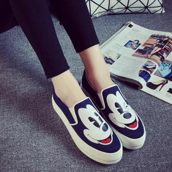 名将秋季新款韩版懒人鞋一脚蹬套脚帆布鞋平底卡通学生鞋潮乐福鞋6829