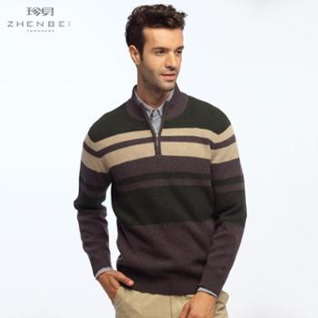珍贝2013秋冬新款半高领拉链条纹时尚商务休闲羊绒衫TM1007