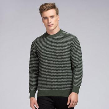 衣锦牧园新款羊绒衫男士商务休闲男士毛衣套头圆领条纹羊绒衫针织衫男毛衣