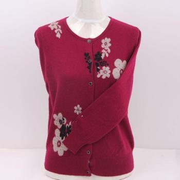 衣锦牧园新款羊绒衫女士中老年妈妈女装毛衣圆领印花开衫羊绒衫针织衫女