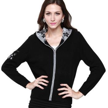 衣锦牧园新款羊绒衫女士加厚通勤拉链针织开衫连帽长袖针织衫羊绒衫女