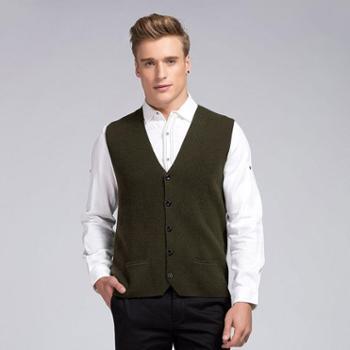 衣锦牧园新款羊绒衫男士男装商务休闲正装纯色羊绒衫开衫V领毛衣针织衫外套