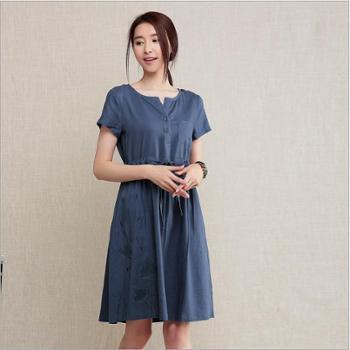 夏新款女装热销爆款内蒙古棉麻圆领品牌连衣裙潮流新品