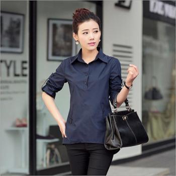 新款纯色衬衫中袖夏季宽松衬衫欧美风格女士衬衫