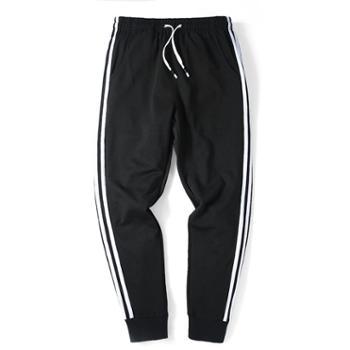 点就 男士三条杠运动小裤男士宽松长裤卫裤休闲裤男条纹跑步裤子潮K8015
