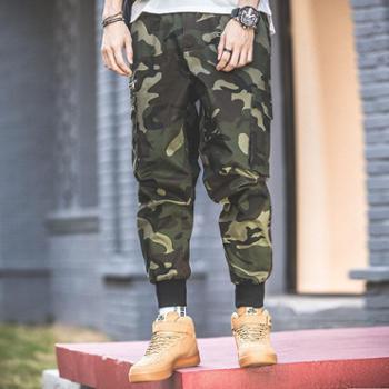 点就 裤子男韩版迷彩春夏ins街头嘻哈束脚运动裤宽松休闲工装裤男潮牌