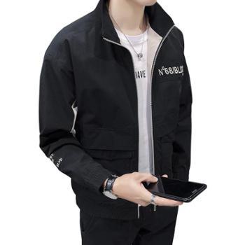 点就日系修身立领拼色工装外套男2019春季新款韩版潮流学生工装夹克男DJ-DS317