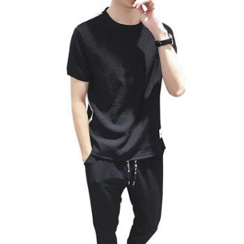 点就 男士运动套装宽松休闲夏季短裤短袖打底衫时尚两件套男夏装韩版潮DJ-DS136