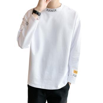 秋季新品个性纯色长袖t恤男士宽松百搭上衣服潮牌DS523