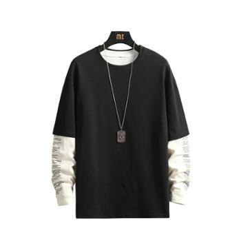 ins潮款春秋新品男士潮流时尚长袖T恤假两件纯棉打底衫男装上衣服DS456