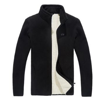 羊羔绒外套男士加绒加厚摇粒绒卫衣抓绒保暖夹克立领开衫运动衫9988