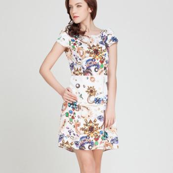 RUI-RUI夏装新款韩版短袖印花连衣裙a字裙夏显瘦打底裙EB4023