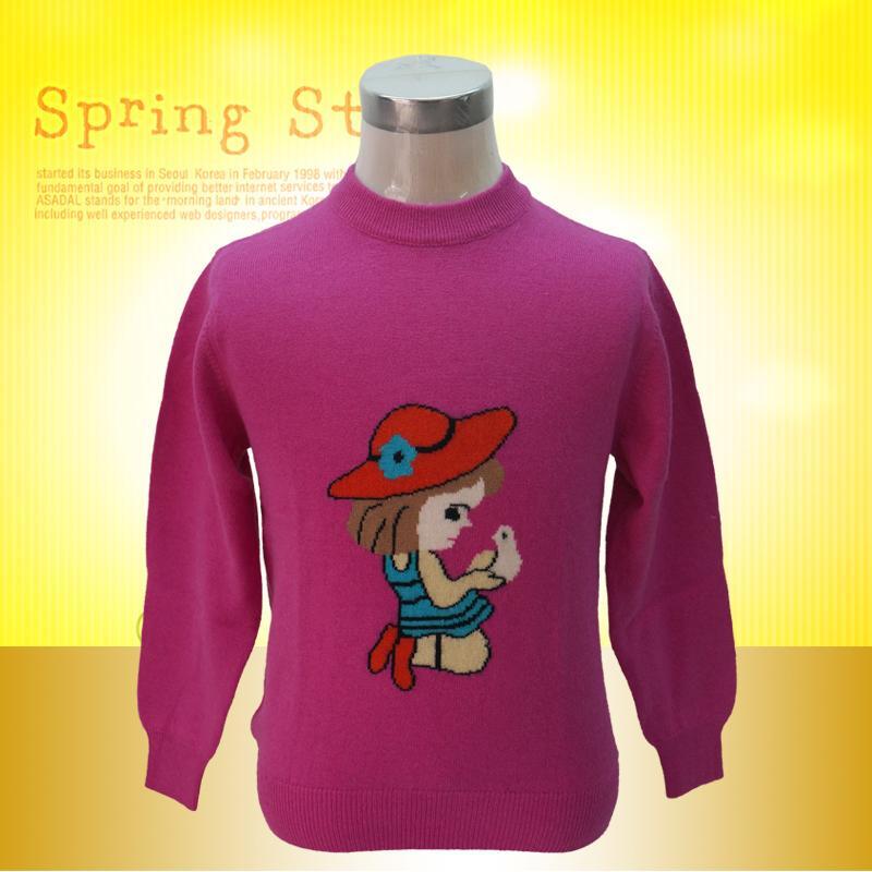 树兰秋冬新款儿童紫色卡通(小孩儿与鸟)休闲羊绒衫图片