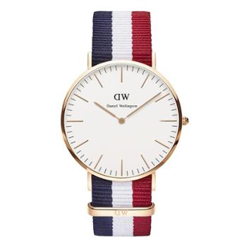 Daniel Wellington DW男表 40mm白盘金边尼龙带 0103DW(DW00100003)