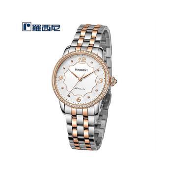 ROSSINI罗西尼石英手表时尚大表盘防水白盘间金钢带女表5750T01B