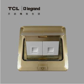 TCL罗格朗地插全铜地插座二位电脑地插座地面插座(不含底盒)