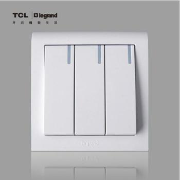 TCL罗格朗开关插座K5系列三开单控带灯三位单控三级单控86开关