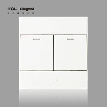 TCL罗格朗开关插座 二位单控 A6系列 二开单控墙壁开关 开关面板