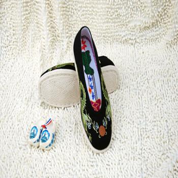 步步升专柜正品纯手工锁边锁底礼服呢双龙戏珠小圆口布鞋
