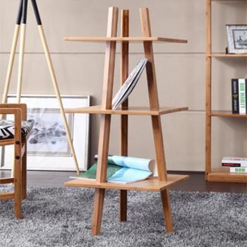 品生美 客厅置物架装饰架卧室落地书架简约创意实木陈列架储物架
