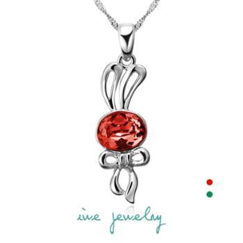 iwe 925纯银 韩国版 个性长短款 锁骨 水晶项链 可爱流氓兔子 女