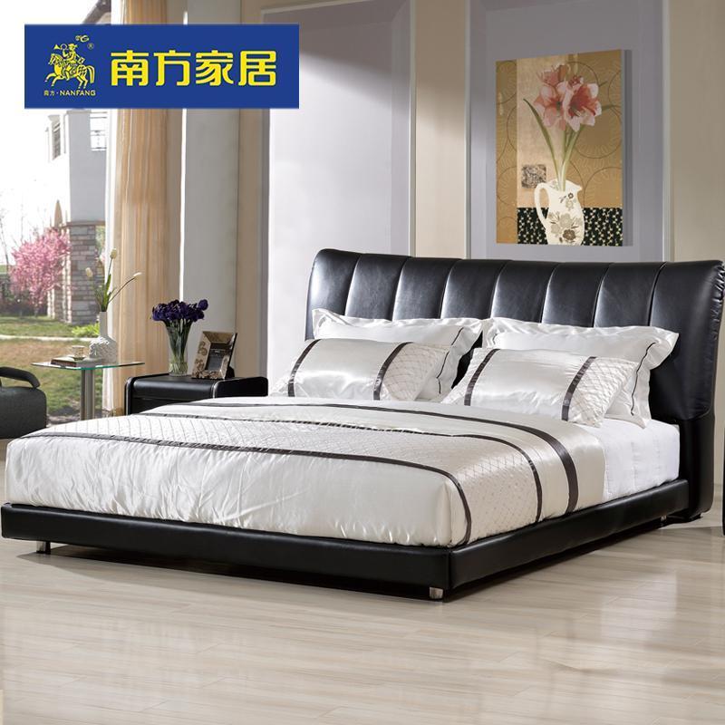 南方家居家私 现代皮艺双人床1.8m 皮床 可拆洗软靠软床现货特价