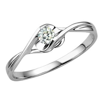 蓝色多瑙河白18k金10分钻戒钻石戒指花约