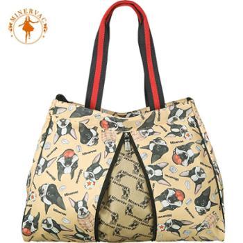 授权正品 米纳瓦Minervacw 时尚印花 手提单肩包 购物 奶爸妈咪包