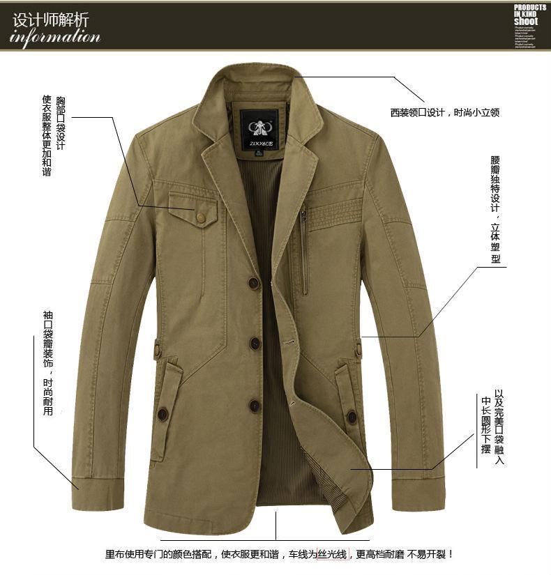 下摆设计:圆下摆(针对纽扣门襟) 男装-口袋设计:侧缝插袋 男装-外套衣