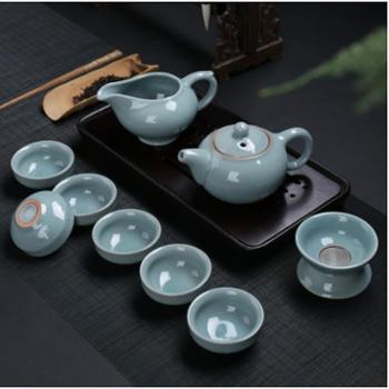 湖南扶贫馆求喜哥窑家用陶瓷茶具套装