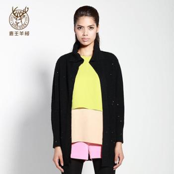 鹿王羊绒衫2014秋冬新品110234298-翻领平针女开衫