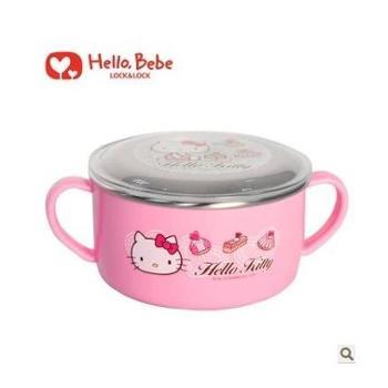 乐扣乐扣Hello Kitty儿童双耳饭碗卡通不锈钢餐碗LKT481送密封盖