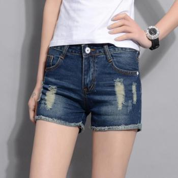 夏季破洞牛仔短裤女装新款韩版显瘦热裤大码三分裤001