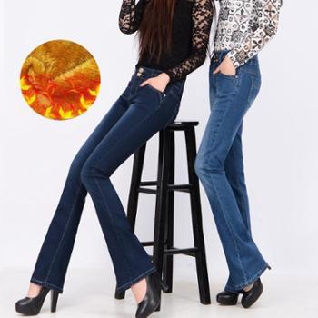 新款高腰女士阔腿长裤修身显瘦微喇叭裤加绒牛仔裤012