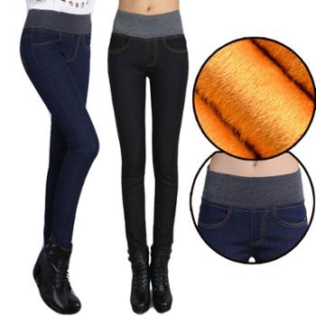 女士牛仔裤加绒保暖松紧高腰弹力小脚裤铅笔裤修身显瘦长裤188
