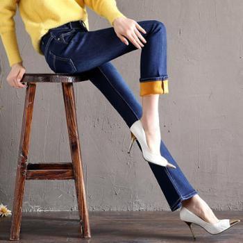 冬季新款高腰显瘦加绒加厚喇叭裤提臀牛仔裤女士大喇叭裤长裤