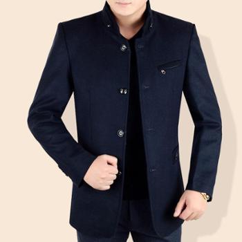 中年男士立领中长款毛呢大衣秋冬商务男装修身爸爸装休闲呢子外套1845