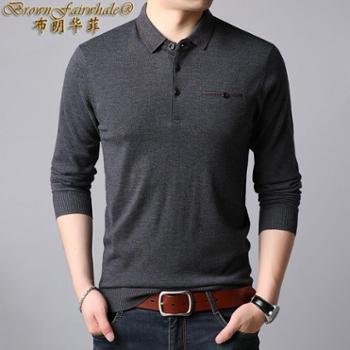 布朗华菲 新款男士翻领长袖针织衫中老年纯色羊毛T恤98011